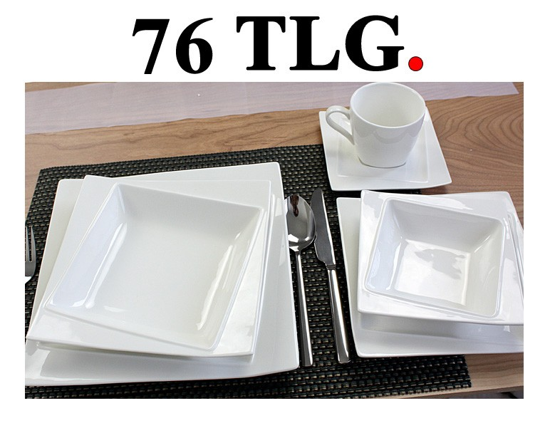 porzellan 76 tlg tafelservice eckig teller set geschirr 12 personen service lov ebay. Black Bedroom Furniture Sets. Home Design Ideas