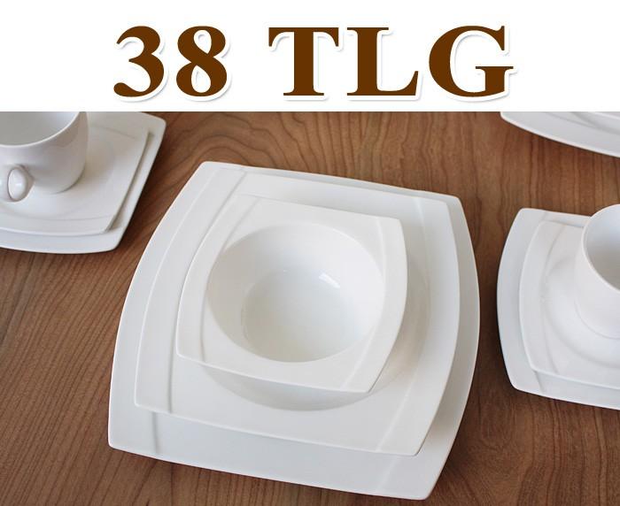 porzellan 38 tlg tafelservice eckig teller set geschirr 6 personen essservice ebay. Black Bedroom Furniture Sets. Home Design Ideas