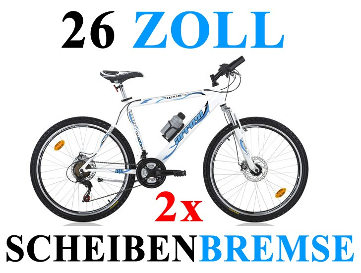 26 zoll mountainbike 21 gang scheibenbremse kinder jugend. Black Bedroom Furniture Sets. Home Design Ideas