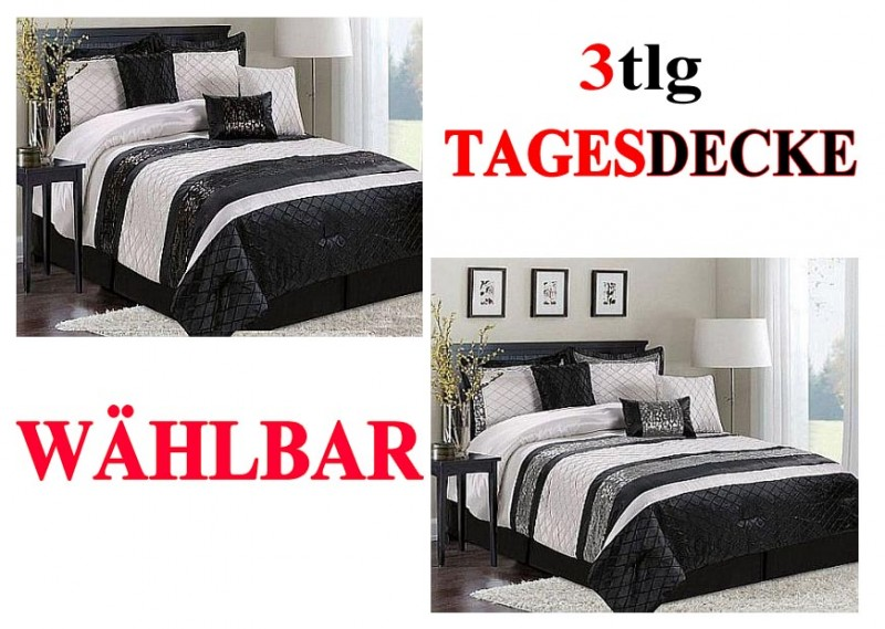 3tlg tagesdecke bett berwurf decke 240 x 260cm gesteppt 2 kissenbez ge w hlbar ebay. Black Bedroom Furniture Sets. Home Design Ideas
