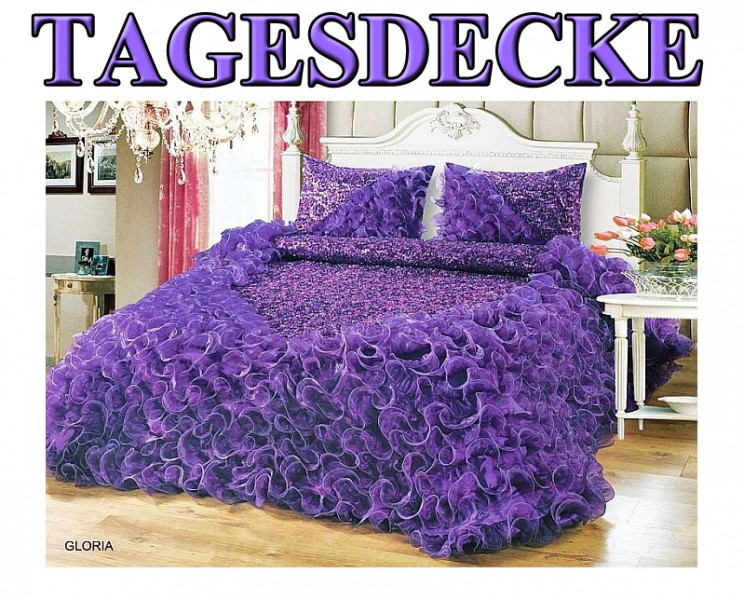 3 tlg luxus tagesdecke bett berwurf decke set 250 x 260 cm gesteppt t ll lila ebay. Black Bedroom Furniture Sets. Home Design Ideas