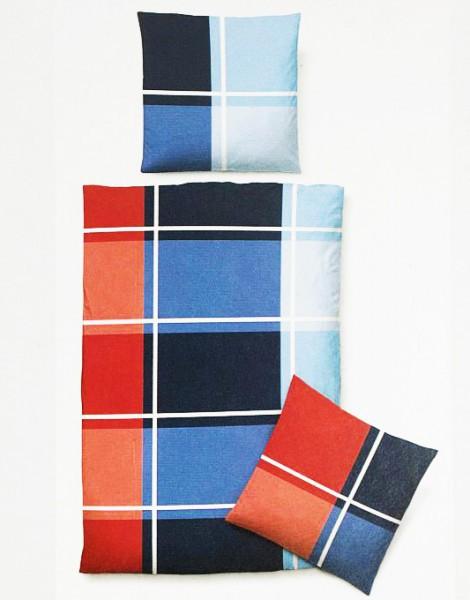 4 tlg baumwolle bettw sche 135x200 castell blau rot kariert bettbezug satin n ebay. Black Bedroom Furniture Sets. Home Design Ideas