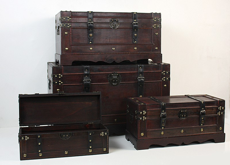 schatztruhe holzkiste holztruhe schatzkiste antik piraten holz kiste truhe box ebay. Black Bedroom Furniture Sets. Home Design Ideas
