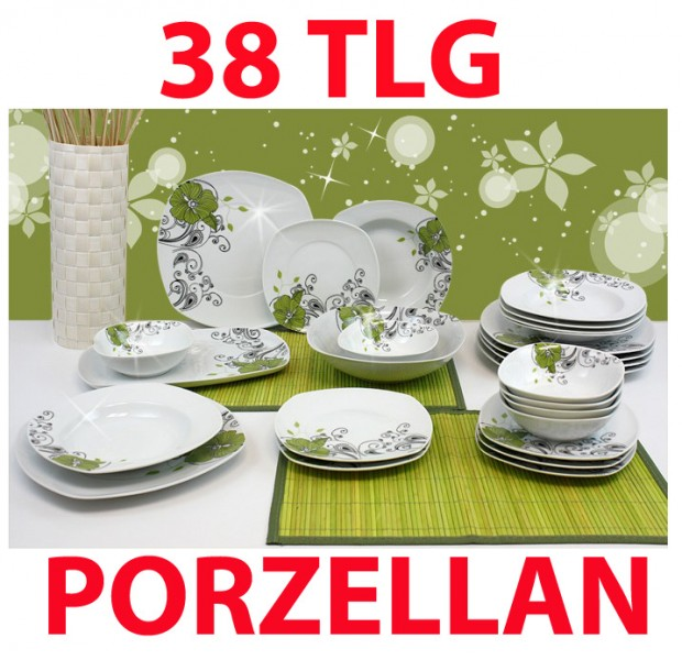 38 tlg porzellan tafelservice eckig teller set geschirr 6 personen ess service ebay. Black Bedroom Furniture Sets. Home Design Ideas