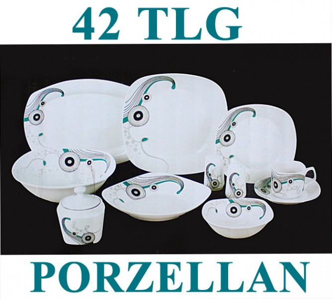 42 tlg tafelservice teller set porzellan geschirr set ess service 6 personen ebay. Black Bedroom Furniture Sets. Home Design Ideas
