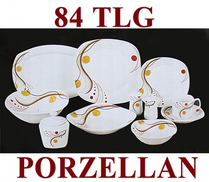 84 tlg tafelservice teller set porzellan geschirr set ess service 12 personen ebay. Black Bedroom Furniture Sets. Home Design Ideas