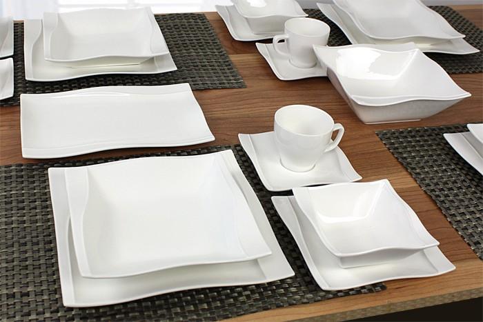 porzellan 38 tlg tafelservice eckig teller set geschirr 6 personen ess service ebay. Black Bedroom Furniture Sets. Home Design Ideas