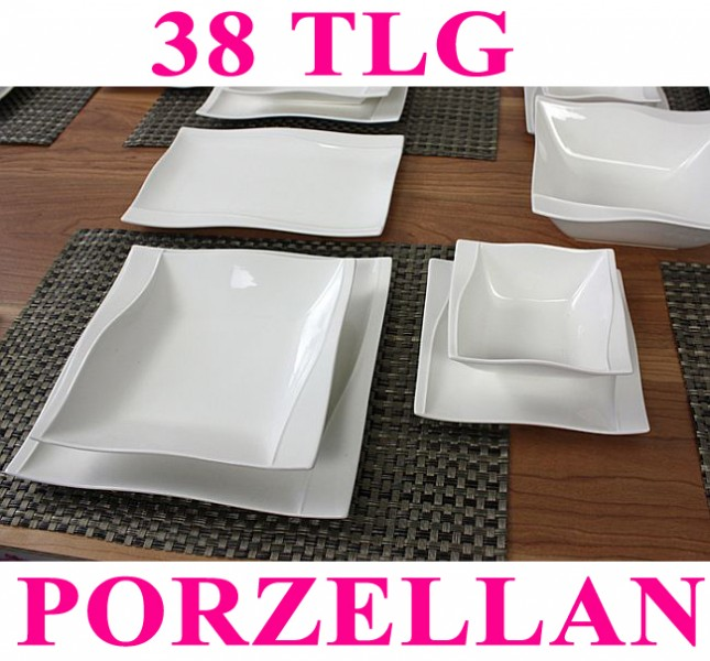 porzellan 38 tlg tafelservice eckig teller set geschirr 6 personen ess service ebay. Black Bedroom Furniture Sets. Home Design Ideas