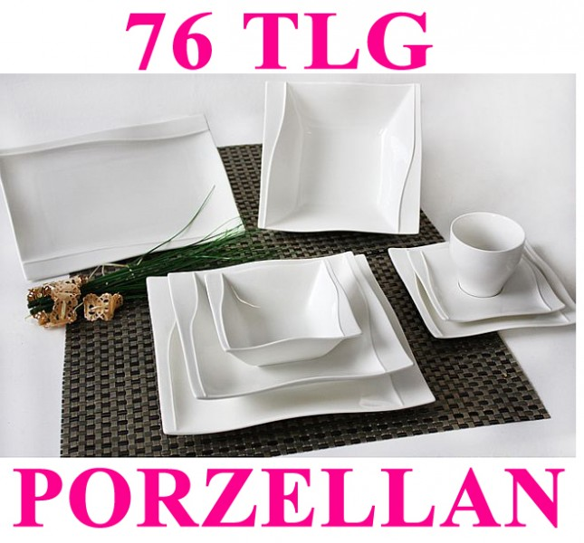 porzellan 76 tlg tafelservice eckig teller set geschirr 12 personen ess service ebay. Black Bedroom Furniture Sets. Home Design Ideas