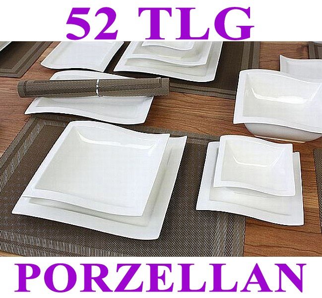 porzellan 52 tlg tafelservice eckig teller set geschirr 12 personen ess service ebay. Black Bedroom Furniture Sets. Home Design Ideas