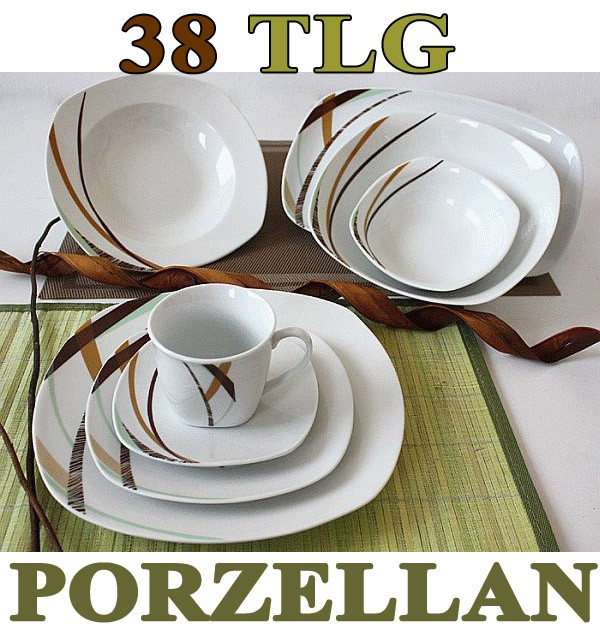 38 tlg tafelservice teller set porzellan geschirr set ess service 6 personen. Black Bedroom Furniture Sets. Home Design Ideas