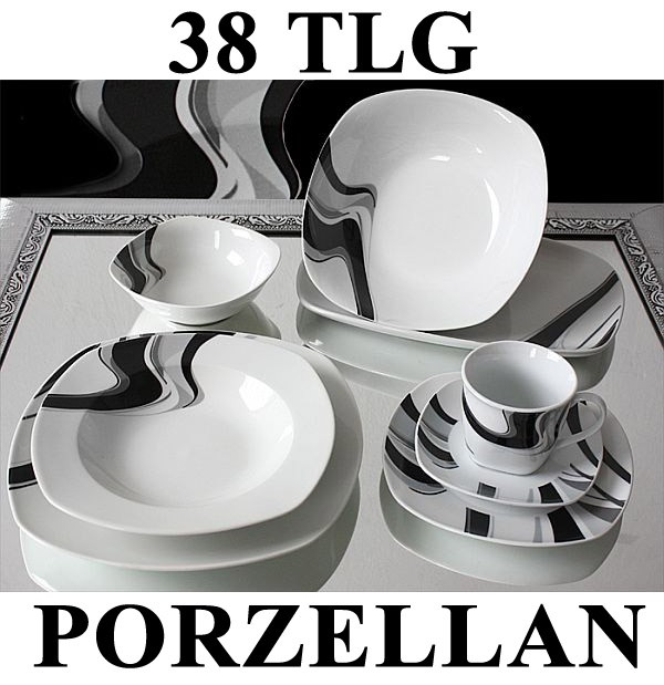 38 tlg tafelservice teller set porzellan geschirr set ess. Black Bedroom Furniture Sets. Home Design Ideas