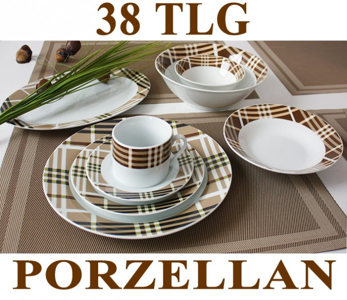 38 tlg tafelservice teller set porzellan geschirr set ess service 6 personen ebay. Black Bedroom Furniture Sets. Home Design Ideas