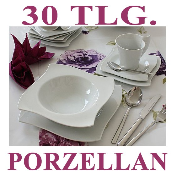 porzellan 30 tlg tafelservice teller eckig set geschirr 6 personen ess service ebay. Black Bedroom Furniture Sets. Home Design Ideas