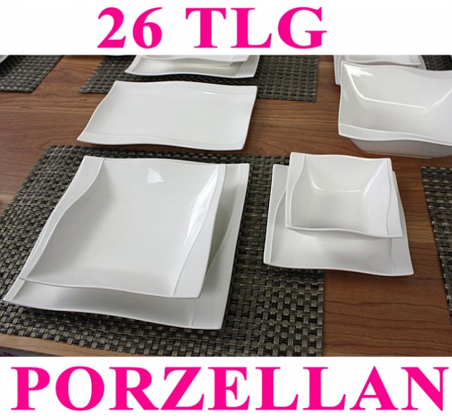 porzellan 26 38 tlg tafelservice eckig teller set geschirr 6 personen essservice ebay. Black Bedroom Furniture Sets. Home Design Ideas