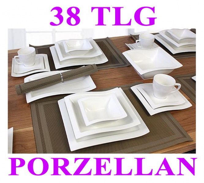 porzellan 26 38 tlg tafelservice eckig teller set geschirr 6 personen service ebay. Black Bedroom Furniture Sets. Home Design Ideas