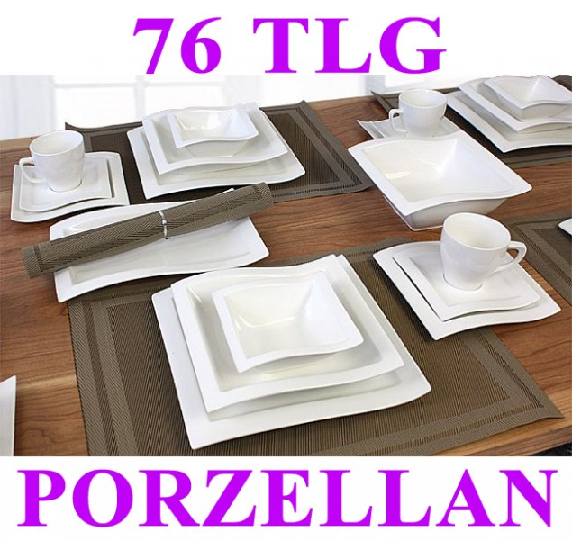 porzellan 52 76 tlg tafelservice eckig teller set geschirr 12 personen essservic ebay. Black Bedroom Furniture Sets. Home Design Ideas