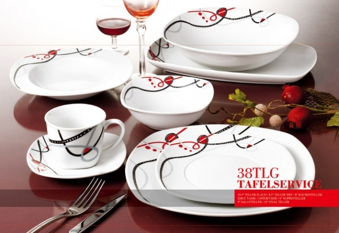 38 tlg Porzellan Tafelservice Eckig Teller Set Geschirr 6 Personen Ess Service  eBay