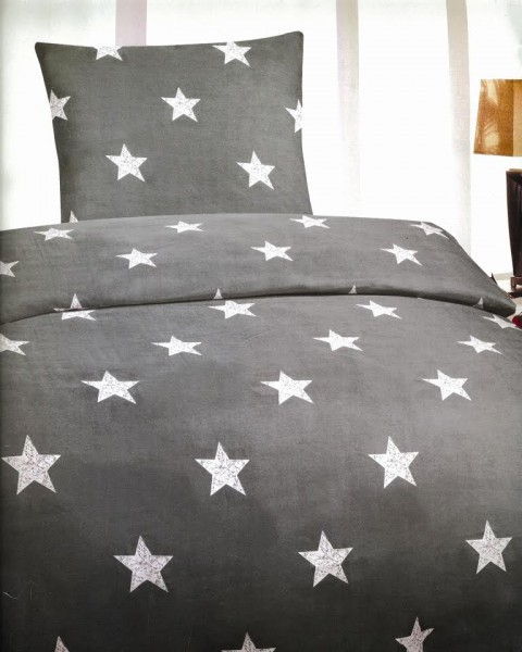 4 tlg bettw sche microfaser bettbezug 135x200 sterne grau. Black Bedroom Furniture Sets. Home Design Ideas